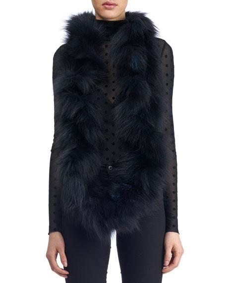 Fox Fur Ruffle Knit Infinity Scarf, navy