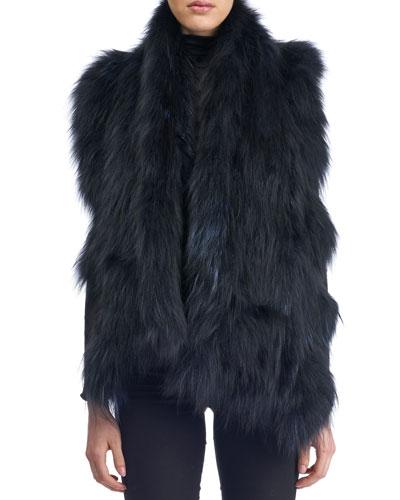 Knit Ruffle Fur Stole w/ Pockets, Navy