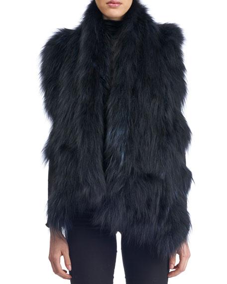 Gorski Knit Ruffle Fur Stole w/ Pockets, Navy