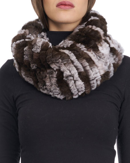 Knit Rabbit Fur Neck Warmer
