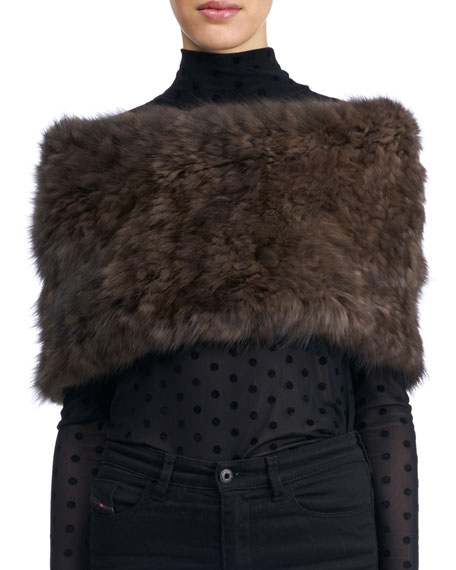 Gorski Knit Fur Neck Warmer, Brown