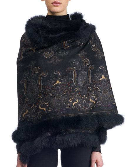 Gorski Paisley Cashmere Stole w/ Fur Trim, Black
