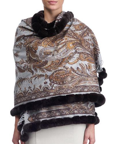Paisley Cashmere Stole w/ Fur Trim, Brown Pattern