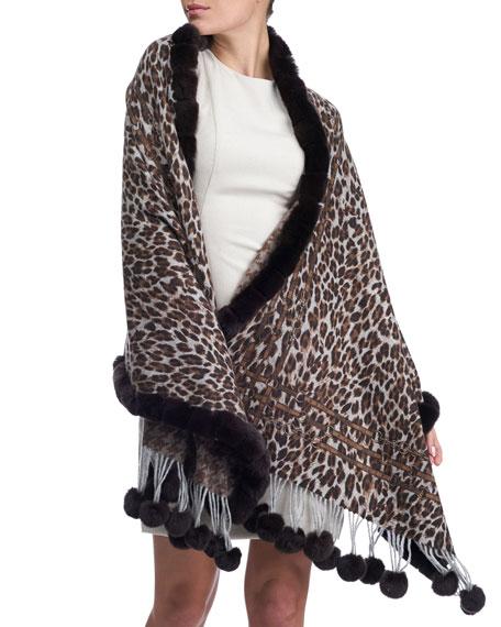 Leopard Cashmere Stole w/ Fur Trim
