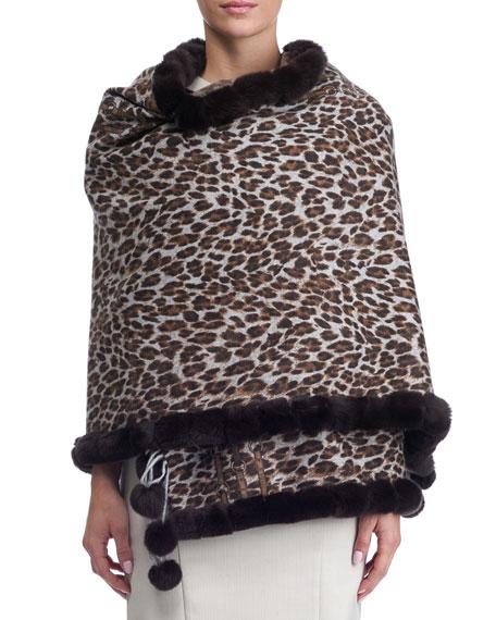 Gorski Leopard Cashmere Stole w/ Fur Trim