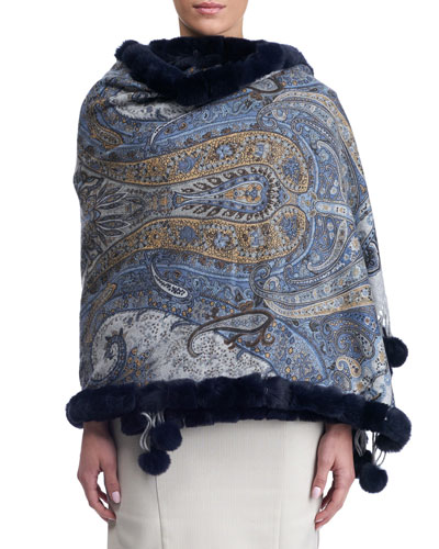 Paisley Cashmere Stole w/ Fur Trim, Blue Pattern