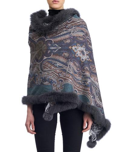 Paisley Cashmere Stole w/ Fur Trim, Gray/Blue