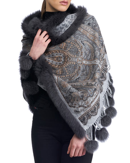 Paisley & Cheetah Print Cashmere Stole w/ Fur Trim, Gray Pattern