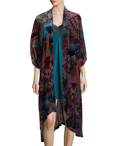 Christine Designs Gatsby Peacock-Print Velvet Wrap and Matching