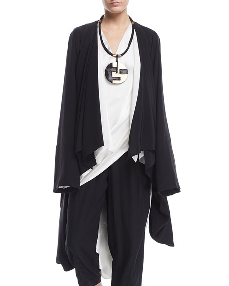 Urban Zen Washed Silk Draped Cocoon Cardigan