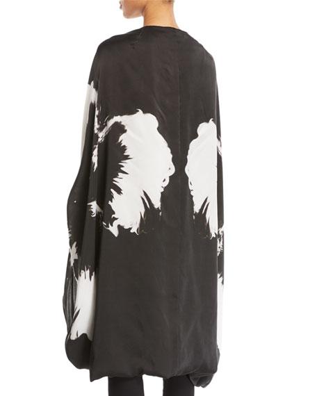 Splash-Flower Silk Satin Cape-Sleeve Poncho