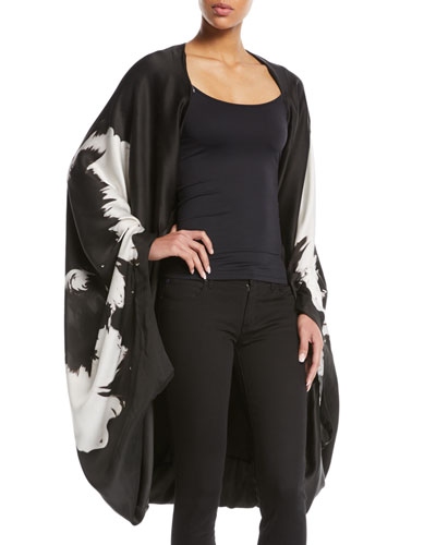 Splash-Flower Silk Satin Cape-Sleeve Poncho