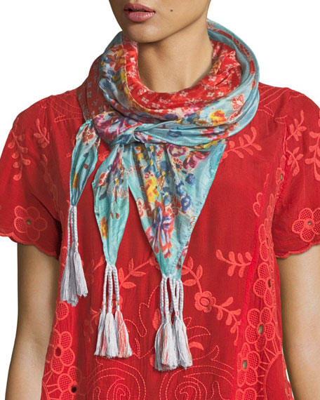 Johnny Was Lacey Silk Georgette Scarf