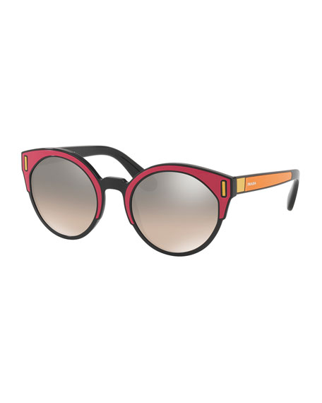 Round Colorblock Mirrored Sunglasses