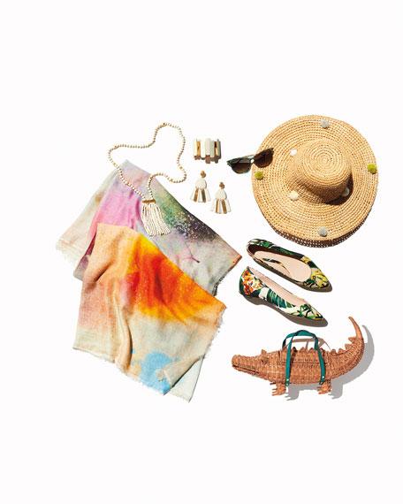 Rosario Crochet Raffia Sun Hat w/ Pompoms