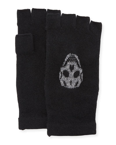 Xena Fingerless Cashmere Gloves with Skulls