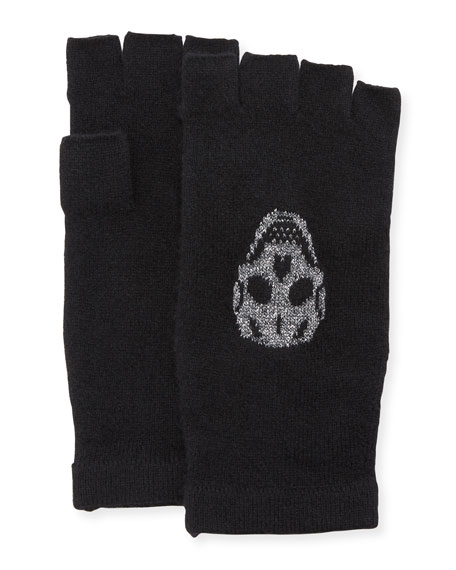360Sweater Xena Fingerless Cashmere Gloves with Skulls
