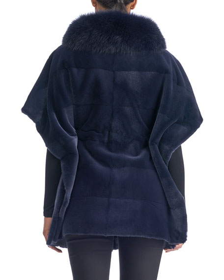 Sheared Mink Suede-Belt Horizontal Cape with Fox-Collar