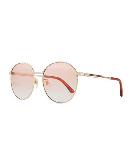Gucci Retro-Inspired Round Metal Web Sunglasses