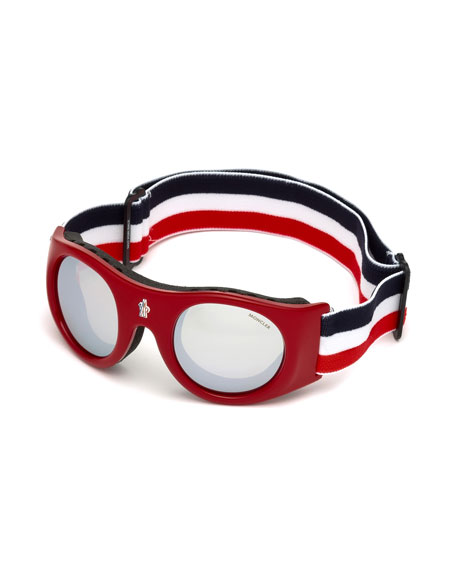 Moncler Round Sunglasses w/ Wide Elastic Band, Red