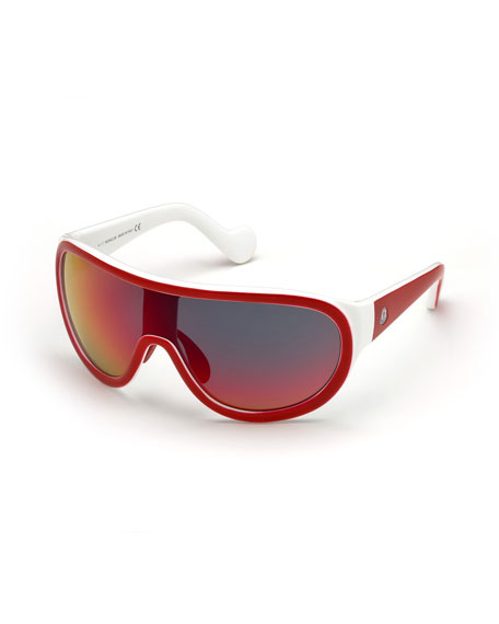 Moncler Mirrored Shield Sunglasses, Red/White