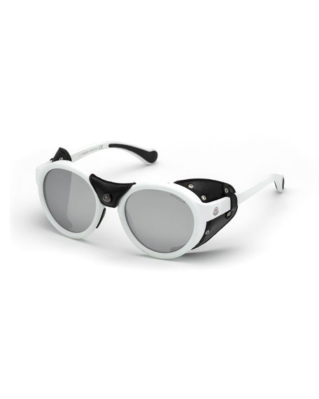 Moncler Round Acetate Sunglasses w/ Leather Trim, White/Black