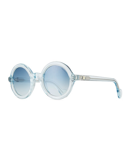 Round Transparent Acetate Sunglasses, Blue