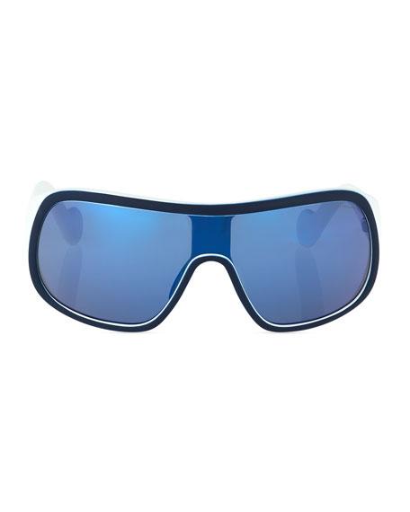 Mirrored Shield Sunglasses, Dark Blue
