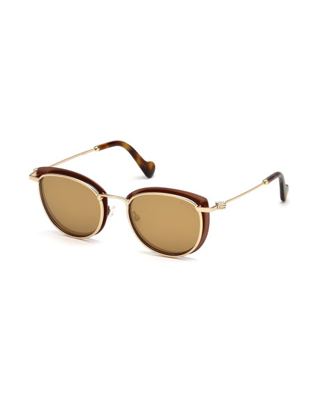Moncler Metal Cat-Eye Mirrored Sunglasses, Brown Pattern
