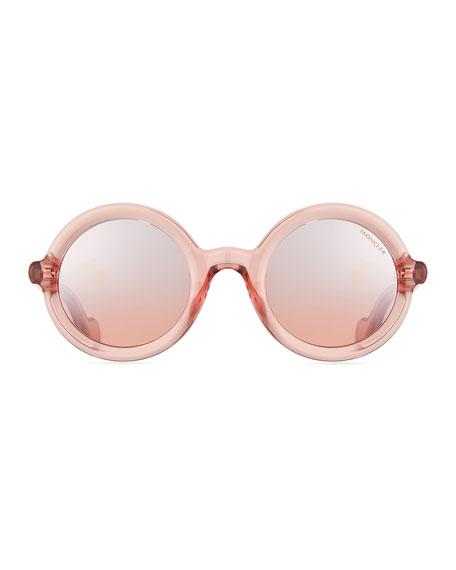 Round Transparent Acetate Sunglasses, Pink