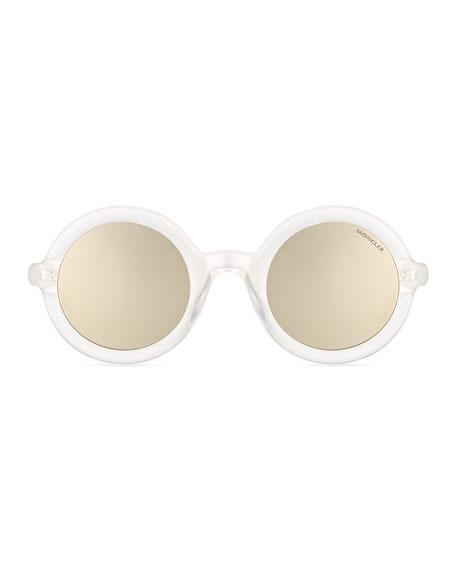 Round Transparent Acetate Sunglasses, White