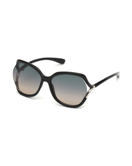Open-Temple Oval Sunglasses