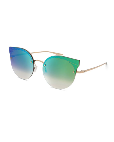 Barton Perreira Sol Mate Cat-Eye Mirrored Sunglasses, Green