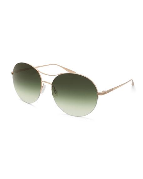 Barton Perreira Mahina Round Gradient Sunglasses, Gold/Julep
