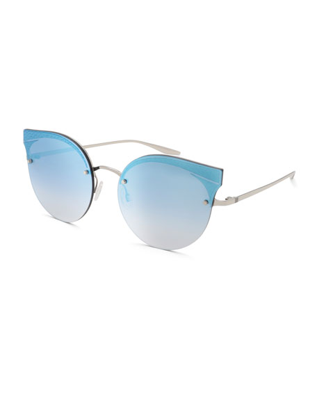Barton Perreira Sol Mate Cat-Eye Mirrored Sunglasses, Blue