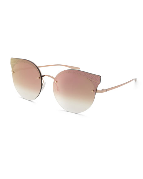 Barton Perreira Sol Mate Cat-Eye Mirrored Sunglasses, Pink