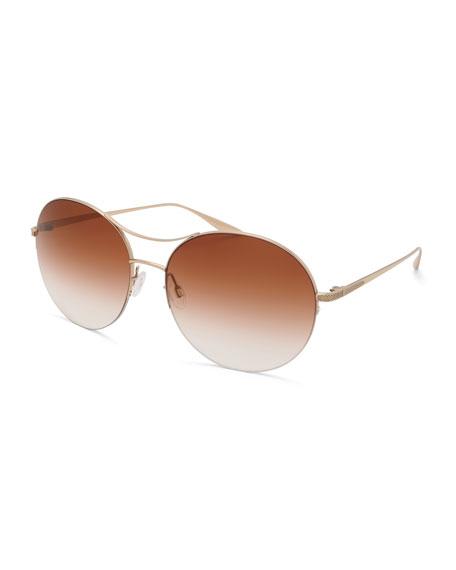 Barton Perreira Mahina Round Gradient Sunglasses, Brown