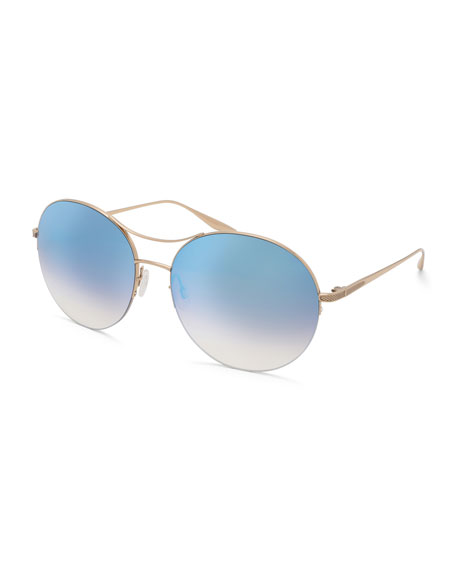 Barton Perreira Mahina Round Mirrored Sunglasses, Blue