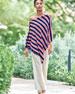 Striped Cashmere Poncho, Plus Size