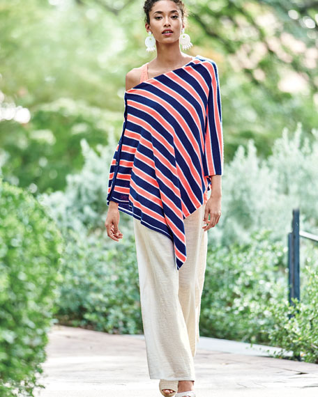 Image 2 of 3: Striped Cashmere Poncho, Plus Size