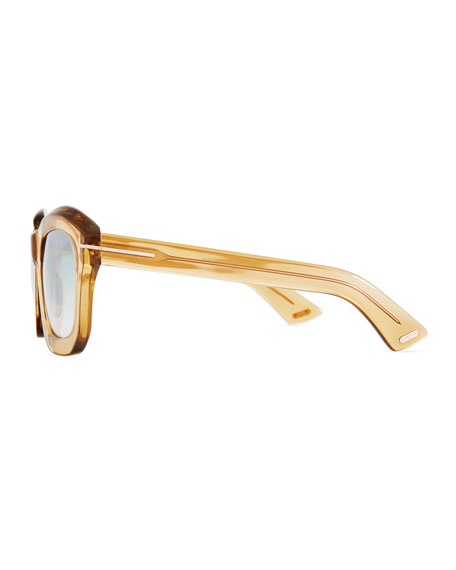 Shiny Transparent Square Mirrored Sunglasses, Champagne