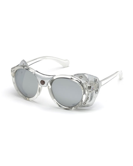 Moncler Transparent Acetate Round Sunglasses w/ Leather Trim,