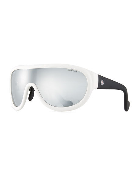 Moncler Two-Tone Mirrored Shield Sunglasses, White/Black