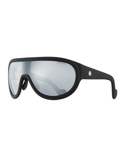 Mirrored Shield Sunglasses, Black
