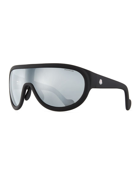 Moncler Mirrored Shield Sunglasses, Black