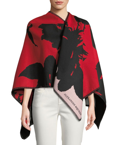 Wool-Blend Exploding Roses Cape