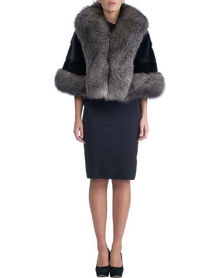 Horizontal Mink Cape with Fox Fur Shawl Collar