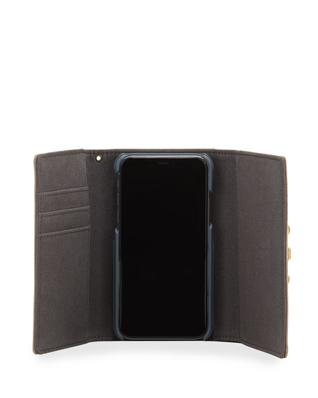 Lovelock Leather Wristlet Phone Bag with Golden Hardware - iPhone X