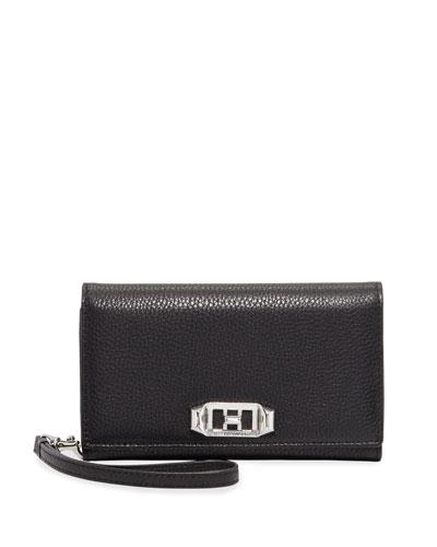 Lovelock Leather Wristlet Phone Bag with Silvertone Hardware - iPhone 8/7 Plus