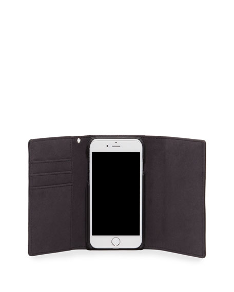 Lovelock Leather Wristlet Phone Bag with Silvertone Hardware - iPhone 8/7